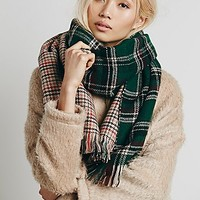 Free People Womens Edinburg Double Sided Plaid Scarf