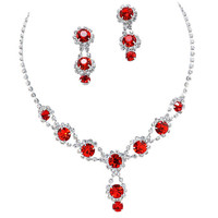 Stunning Y Drop Evening Party Red Bridal Bridesmaid Necklace Earring Rhinestone Bling A2