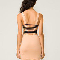 Motel Lesley Cage Back Dress in Peach and Black - Motel Rocks