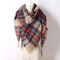 Red and Green Blanket Scarf Plaid Winter Best Seller
