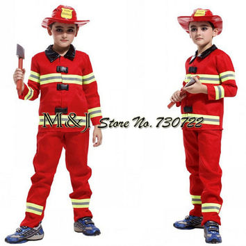 Free shipping Fireman boys play stage costumes Halloween children clothing firefighters fire fighters