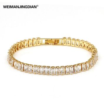 WEIMANJINGDIAN Brand Top Quality Rectangle Cubic Zirconia Crystal Zircon Tennis Bracelets for Women in Gold or Silver Color