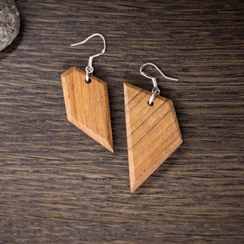 Dangle Wood Earrings, Different Shapped Earrings, Wooden Earrings, Teak Wood, Teak Wood Earrings, Wood Jewelry, Unique Earrings