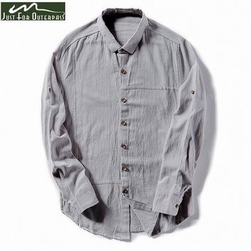 2017 New Arrival Trend Summer Spring Shirt Men Turn-down Collar Cotton Linen Long Sleeve Shirt Male Slim Casual Linen Shirt HI-Q