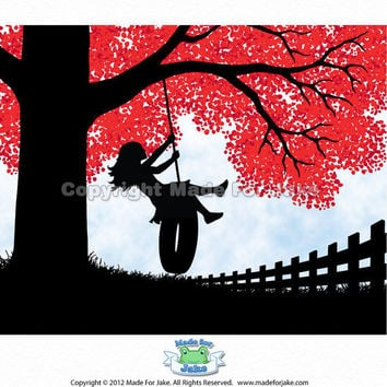 Tire Swing Girl silhouette  red tree - nursery or child room wall art print - 8x10
