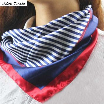 Scarf Women Striped Women Bandana Shawls And Scarves Multifunction Silk Scarf Poncho Feminino #2913