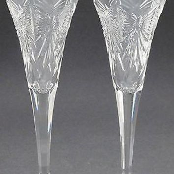 Pair of Signed Waterford CUT GLASS  Happiness butterfly Toasting flutes crystal