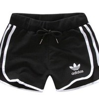 Adidas Fashion Print Drawstring Gym Yoga Running Leggings Sweatpants Shorts