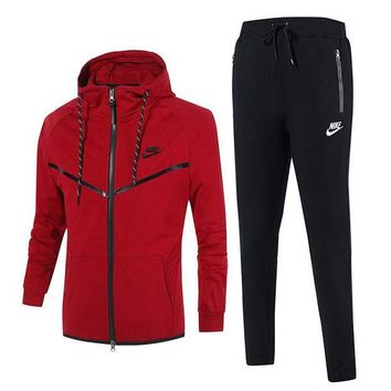 Nike Fashion Casual Men Cardigan Jacket Coat Pants Trousers Set Two-Piece Red
