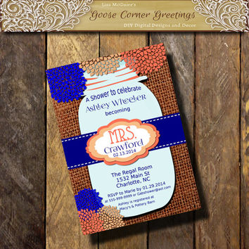 Mrs. MASON JAR Bridal Shower Invitation Burlap and Lace Rustic Rehearsal Dinner Wedding invitations any color Coral Navy Peach