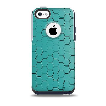 The Teal Hexagon Pattern Skin for the iPhone 5c OtterBox Commuter Case