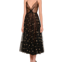Valentino Star Illusion Tulle Dress, Black/Gold