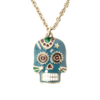 LOVEsick Blue And Gold Tone Day Of The Dead Skull Necklace