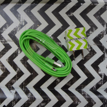 New Super Cute Lime Green & White Chevron Designed Wall iphone 5/5s Charger + 10ft Lime Green Cable Cord Super Long