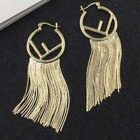 FENDI Popular Women Exaggerated Personality F Letter Tassel Pendant Earrings Accessories Jewelry
