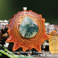 Glowing Moss Agate Third Eye Pinecone Pendant
