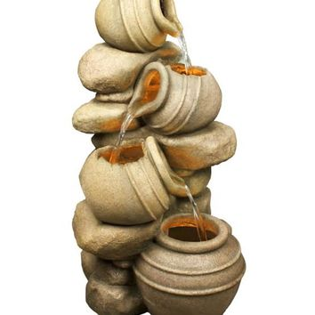 """32.5"""" LED Lighted Rustic Rocks and Broken Urn Pots Spring Outdoor Garden Water Fountain"""