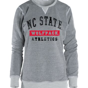 Official NCAA North Carolina State University Wolfpack NC State NCSU Women Boyfriend Fit Adult Cozy Full Sleeve Crewneck Triblend O-Neck Durable Premium Sweatshirt