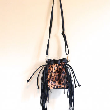 Bucket Fringe Bag-Leopard
