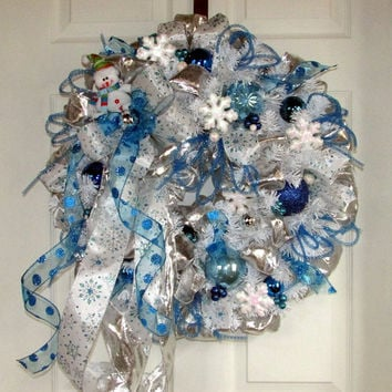 winter snowman wreath, snow wreath, let it snow, winter wonderland, white silver blue wreath, snowman wreath, snowflakes, snowman decor