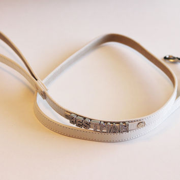White Leather Leash, Best Man Wedding accessory, High quality, Wihte Dog leash with bling, Wedding pet accessory