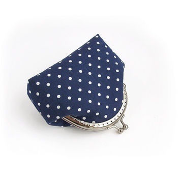 Navy blue polka dots coin purse, Change Pouch, White, Lavender square cotton fabric with kisslock