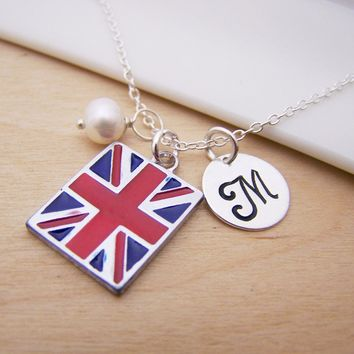 Union Jack UK Flag Charm Personalized Sterling Silver Necklace