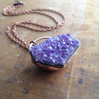 Raw Amethyst Pendant - Copper Chain