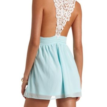 Color Block Lace Racerback Chiffon Dress