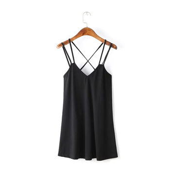 Summer Vacation Maxi Dress Sexy Deep V Backless Knit Spaghetti Strap Dress One Piece Dress [6033326401]