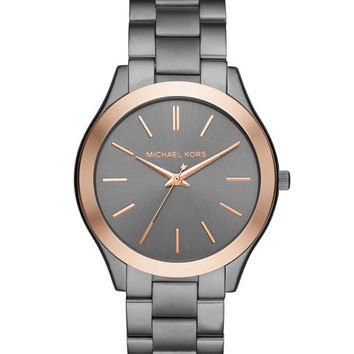 Michael Kors 42mm Slim Runway Bracelet Watch in Gunmetal/Rose Golden