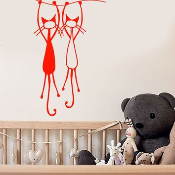 Vinyl Wall Decal Cartoon Funny Two Cats Romantic Love Nursery Stickers (2972ig)