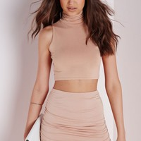 Missguided - Sleeveless Roll Neck Crop Top Nude