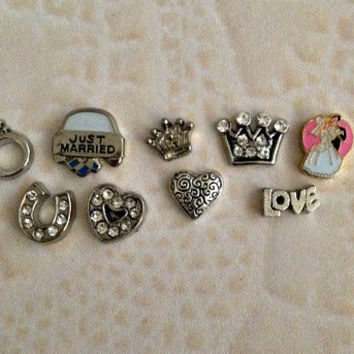 Floating charms for living locket Bride, just married, love, ring , crown small and large, crystal heart and silver heart