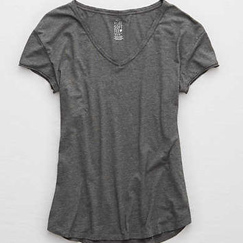 Aerie Real Soft® V-Neck Tee, True Black