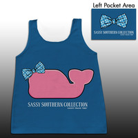 Sassy Frass Sassy Southern Collection Whale Bow Moby Girlie Bright Comfort Colors Tank Top