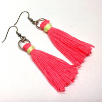 Neon Tassel Earrings, Hot Pink Tassels, Neon Tassels, Fringe Earrings, Hot Pink Earrings, Fringe Jewelry, Tassel Jewelry, Neon Jewelry