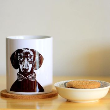 Black  Bowknots dachshund  Ceramic Mug Coffee Cup Milk Mug With Handgrip 320ml Home Decoration 11oz
