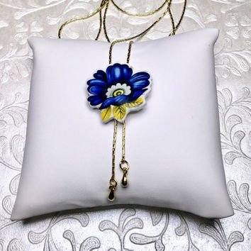 Bridal Backdrop Necklace, Front/Back Wedding Jewelry China Jewelry, Blue Wedding, Long Gold Necklace, Y Necklace, Belleek China, Blue Flower