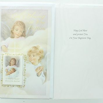 Baby Baptism Greeting Card with prayer book. Includes envelope. Christening Card.