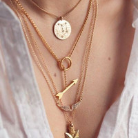 Fashion street snap angel wings arrow Bib Collar Necklaces Chunky Multi Layers Exaggerated Necklace & Pendants Statement Jewelry
