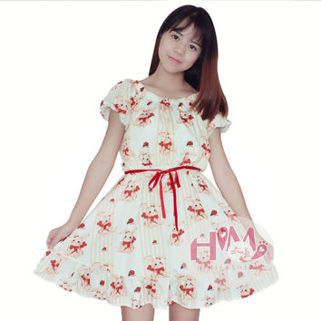 Women Loose Cotton Japanese 2017 Summer Dress Kawaii Casual Cute Cartoon Print Short Sleeve Princess Party Dresses Plus Size One