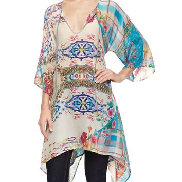 3/4-Sleeve Printed Georgette