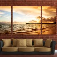 Sunset canvas digital print ready to hang on wall, 3 panels canvas digital print