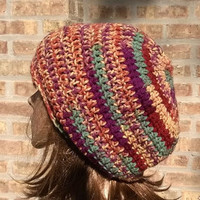 Slouchy Hat - Slouchy Beanie - The Eden in Jazz Stripe - Mens Hat - Womens Hat - Gamers Hat