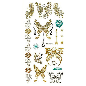 Wrapables Celebrity Inspired Temporary Tattoos in Metallic Gold Silver and Black, Medium, Fairy Butterfly