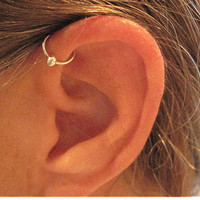 "No Piercing Handmade Ear Cuff Helix Cuff ""Helix Ball"" 1 Cuff Silver Tone or 17 Color Choices"