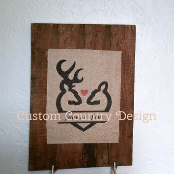 "Burlap Decor - Personalized Home Decor - Custom Design - ""DEER Love Print"" - Buck and Doe -Personalized Wedding Gift"