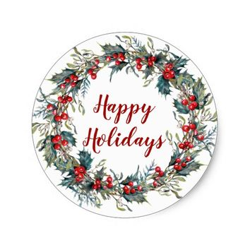 Happy Holidays Holly Wreath Christmas Sticker