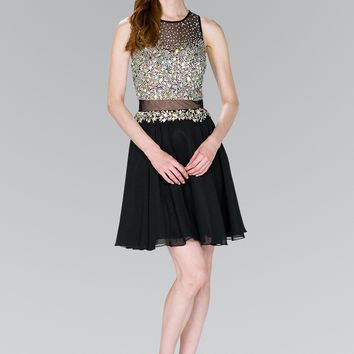 Beads Embellished Bodice Short Dress GS2401